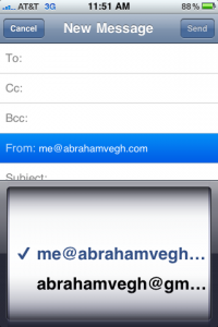 Compose screen in Mail on the iPhone displaying an email alias in the list of selectable addresses.